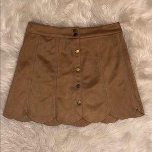 🧡TAN SUEDE SCALLOPED SKIRT🧡
